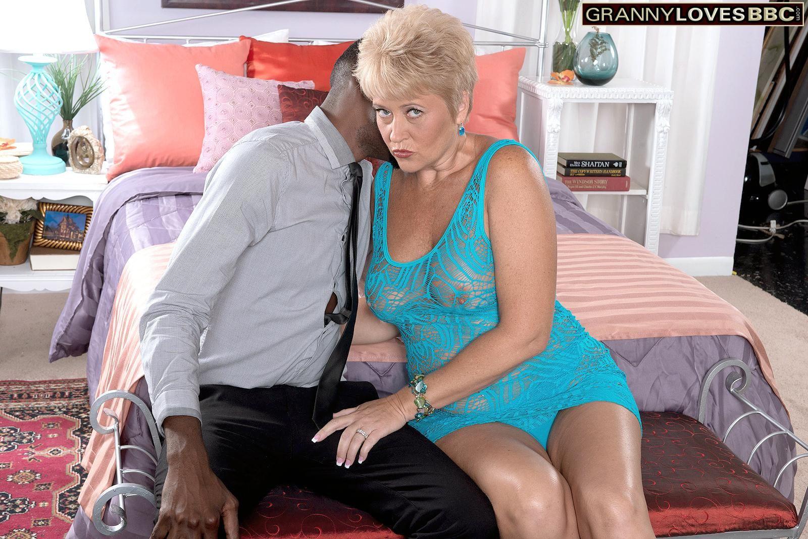 60 plus granny Tracy Licks seduces a black man in a see thru dress