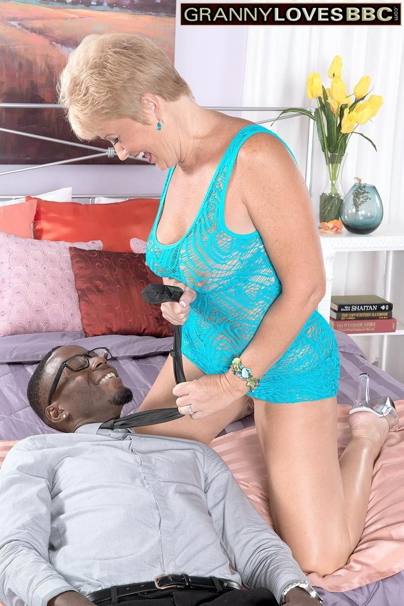 60 plus granny Tracy Licks seduces a black man in a see thru dress