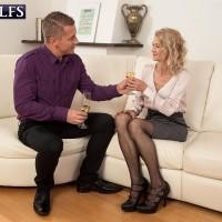 Hot 60 plus MILF Beata licks a younger man's big cock after seducing him over wine