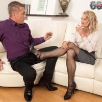 Hot 60 plus MILF Beata licks a man's cock after seducing him in a short skirt