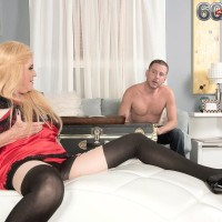 Blonde 60 plus MILF Charlie seduces a younger boy in lingerie and stockings