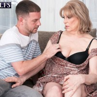 Thick mature MILF Crystal King gets some tit sucking attention from her toy boy