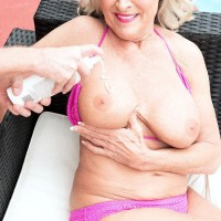 Hot over 60 MILF Katia has her big boobs groped by a younger boy
