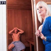 Sexy 60 plus woman Leah L'Amour blows a younger guy's dick during POV action