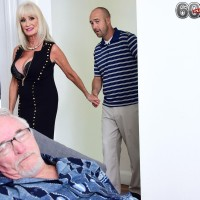 Hot granny Leah L'Amour has sex with young man while her cuckold husband sleeps