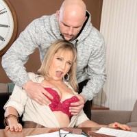 Over 60 businesswoman Luna Azul seduces a young man in her office