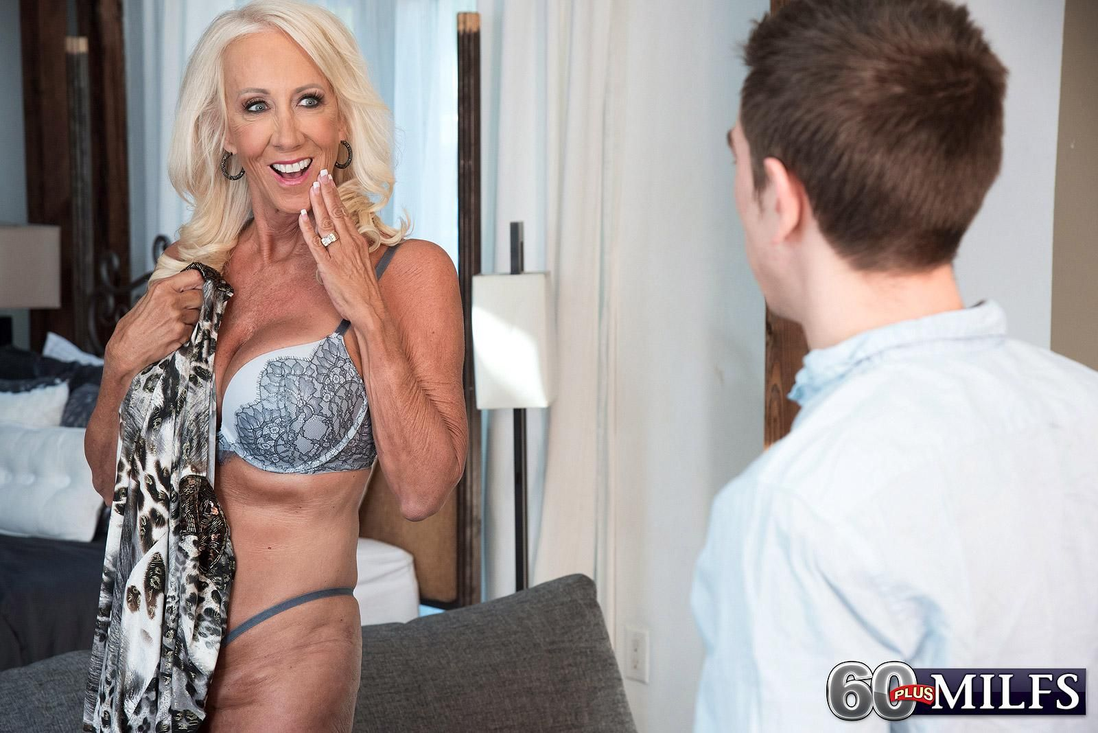 Hot 60 plus woman with blonde hair Madison Milstar seduces a boy in bra and panties
