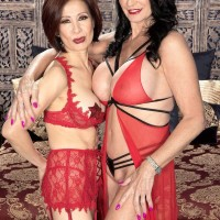 60 plus MILFs Rita Daniels and Kim Anh suck a cock together during a threesome