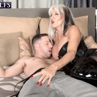 Dirty blonde 60 plus MILF Sally D'Angelo frees big tits from a corset for nipple play