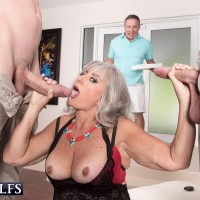 Horny 60 plus MILF Silva Foxx gets caught sucking a couple of dicks by her hubby