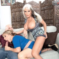 60 plus MOMS Sally D'Angelo and Luna Azul give a double handjob and oral sex
