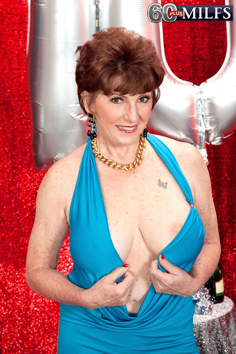 70 MILF Bea Cummins pulling out gigantic all natural older titties on her bday