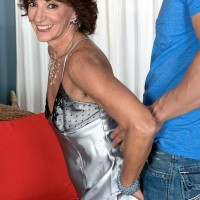 Aged amateur over 60 Sydni Lane letting out flappy funbags from lingerie before sex