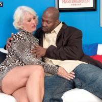 Ash-blonde grannie Jeannie Lou delivering large black rod bi-racial BJ in lingerie