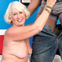 Ash-blonde grannie Jeannie Lou delivering large black rod bi-racial BJ in lingerie