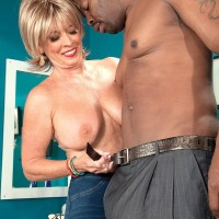 Ash-blonde granny Lexi McCain pulling out massive hooters before providing BIG BLACK PENIS oral job