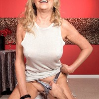 Big-chested ash-blonde aged woman Bethany James flaunting monster-sized fun bags and upskirt underwear