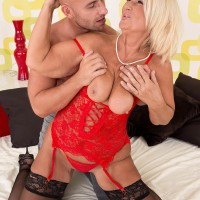 Over 60 MILF Rita Daniels entices her stepson and drains his pecker after stripping him