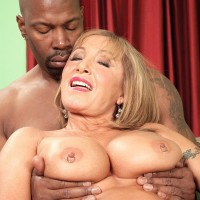 Big-titted ash-blonde MILF over Sixty Luna Azul drilled by enormous ebony junk during multiracial MMF