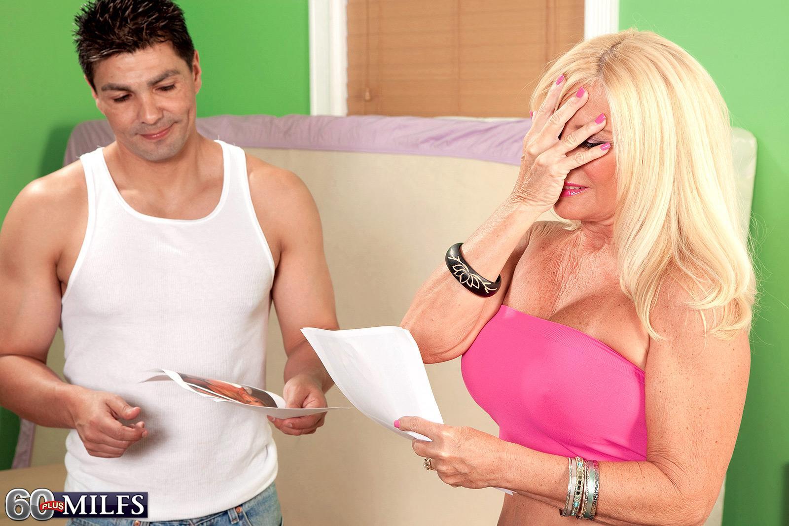 Blond grandma Julia Derriere uncovering adorable boobs in denim jeans before interracial MMF threeway
