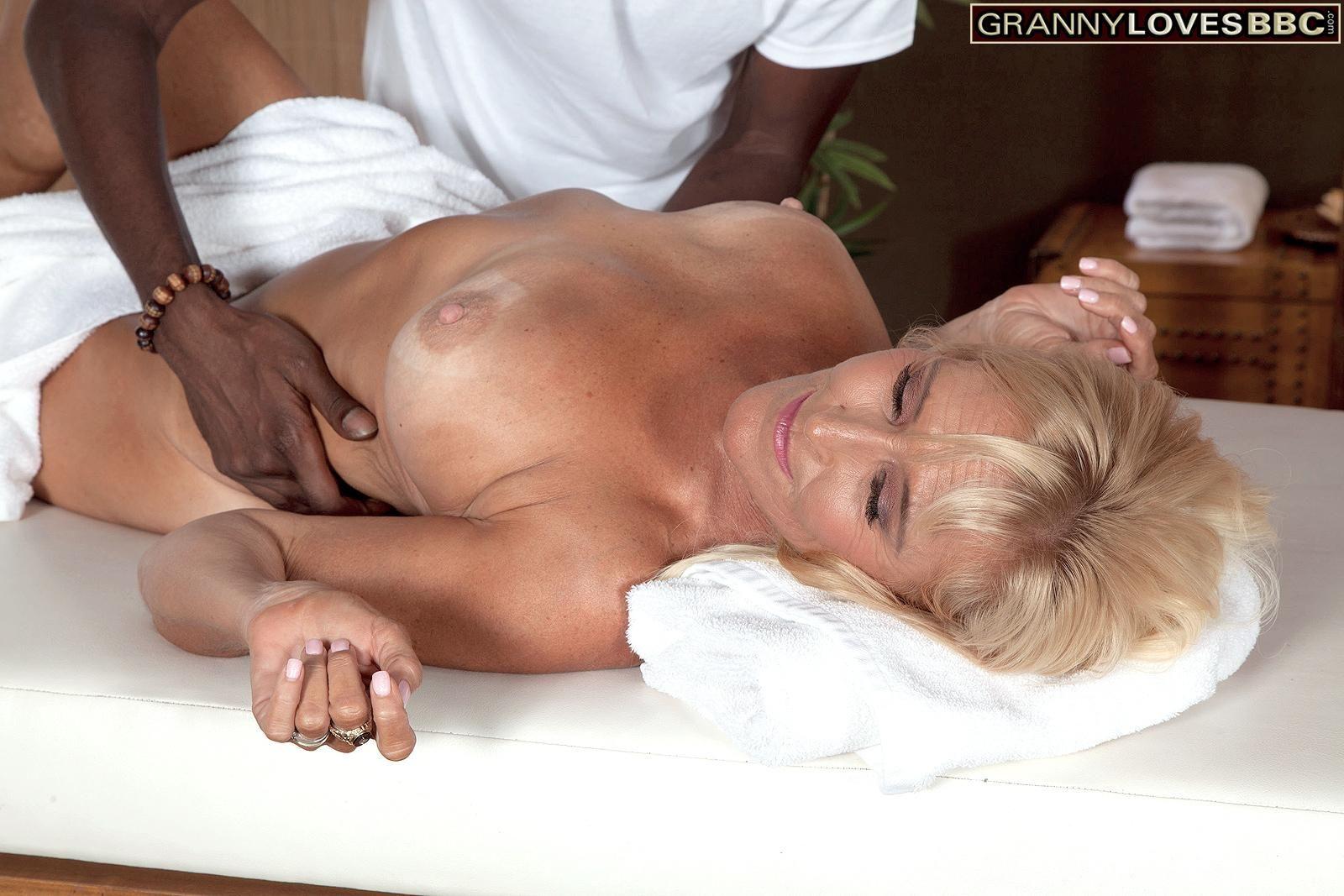 Fair-haired grannie Brittney Snow gets seduced by her black massage therapist