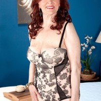 Chesty ginger-haired granny Katherine Merlot delivering gigantic dick oral jobs in hose