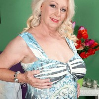 Chubby platinum-blonde MILF over sixty Angelique DuBois uncovering pierced nips and immense hooters