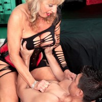 Cool grannie X-rated film star Phoenix Skye seducing sex from younger dude in fantastic lingerie