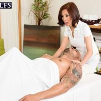 Diminutive Chinese grandma Kim Anh providing hefty junk hand job and BLOWJOB during massage