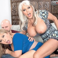 Dirty 60 plus COUGARS Sally D'Angelo and Luna Azul giving huge pecker blowjobs in threesome