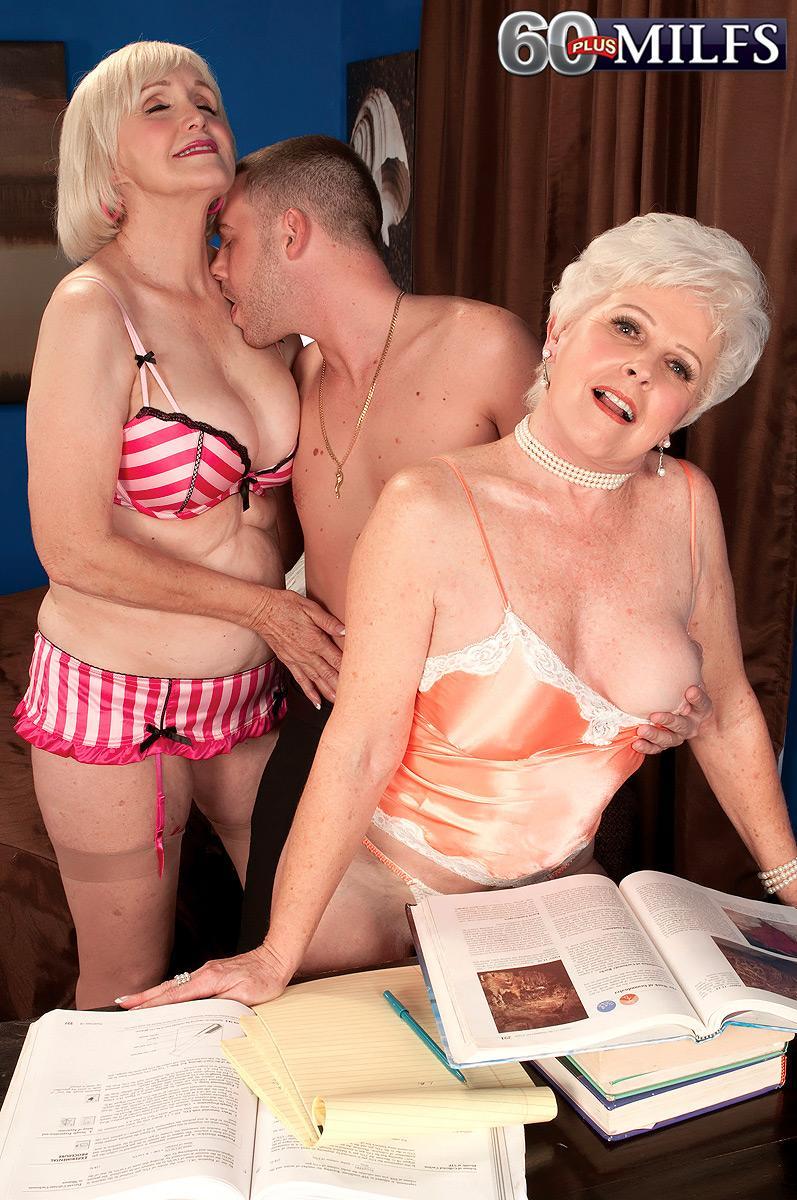 Dirty nannas Jewel and Lola Lee giving dual oral pleasure in tan hosiery