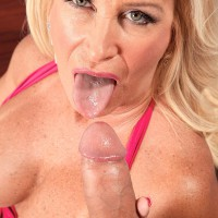 Golden-haired MILF over sixty Julia Ass unsheathing giant melons before riding on top of hefty boner