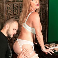 Gorgeous MILF over Sixty Lexi McCain seducing junior man in white nylons and lingerie