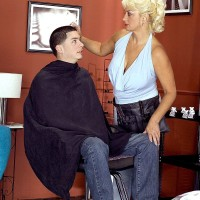 Hot older blonde Dana Hayes seduces a boy while he's in the chair for a haircut