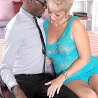 Filthy grandma Tracy Licks entices a younger black stud by displaying her huge all-natural titties