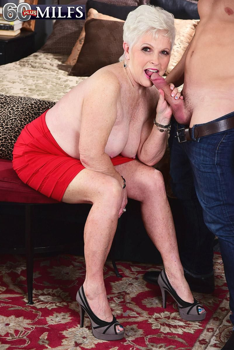 Horny MILF on the other side of sixty Jewel seduces a junior stud before gobbling his prick