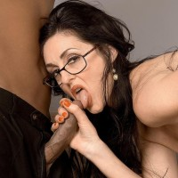 Sumptuous mature gal Lake Russell tempts a man with a big ebony rod in his pants