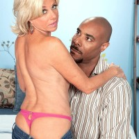 Hot older lady Payton Hall is stripped to thong underwear by her younger black lover