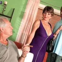 Huge-boobed MILF over 60 Bea Cummins screwing BIG EBONY DICK while cuckold husband looks on