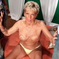 Huge-boobed over 70 grannie Sandra Ann stripped for bi-racial MMF three way sex