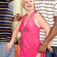 Kinky grandmother Jewel hooks up with 2 monster-sized ebony hard-ons for MMF 3 way dream