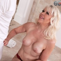 Sexy blonde granny Lady S sucks off her masseur after getting a massage