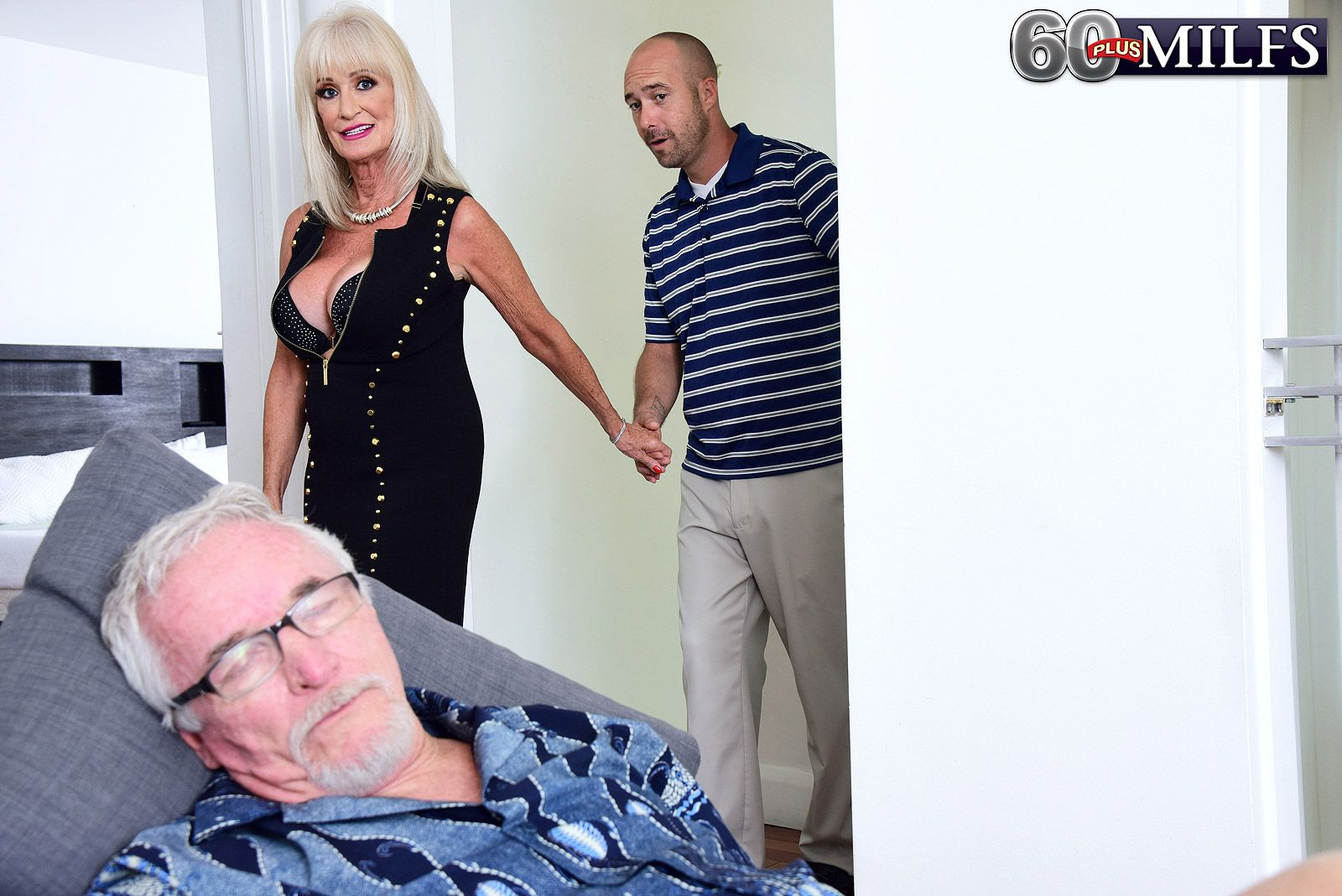 Hot 60 plus granny Leah L'Amour fucks her toy boy behind her husband's back
