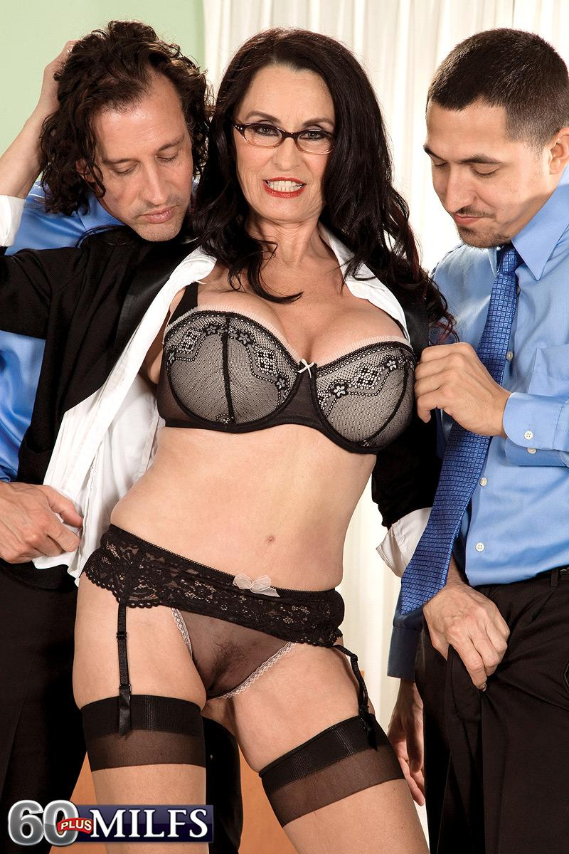 Leggy brunette Rita Daniels displaying mature upskirt panties before MMF threeway