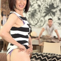 Lil' Chinese grandma Kim Anh stripping down to silk lingerie and g-string panty set