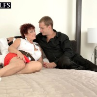 Mature 50 plus MILF Jessica Hot gets banged doggystyle on a bed by her toy boy