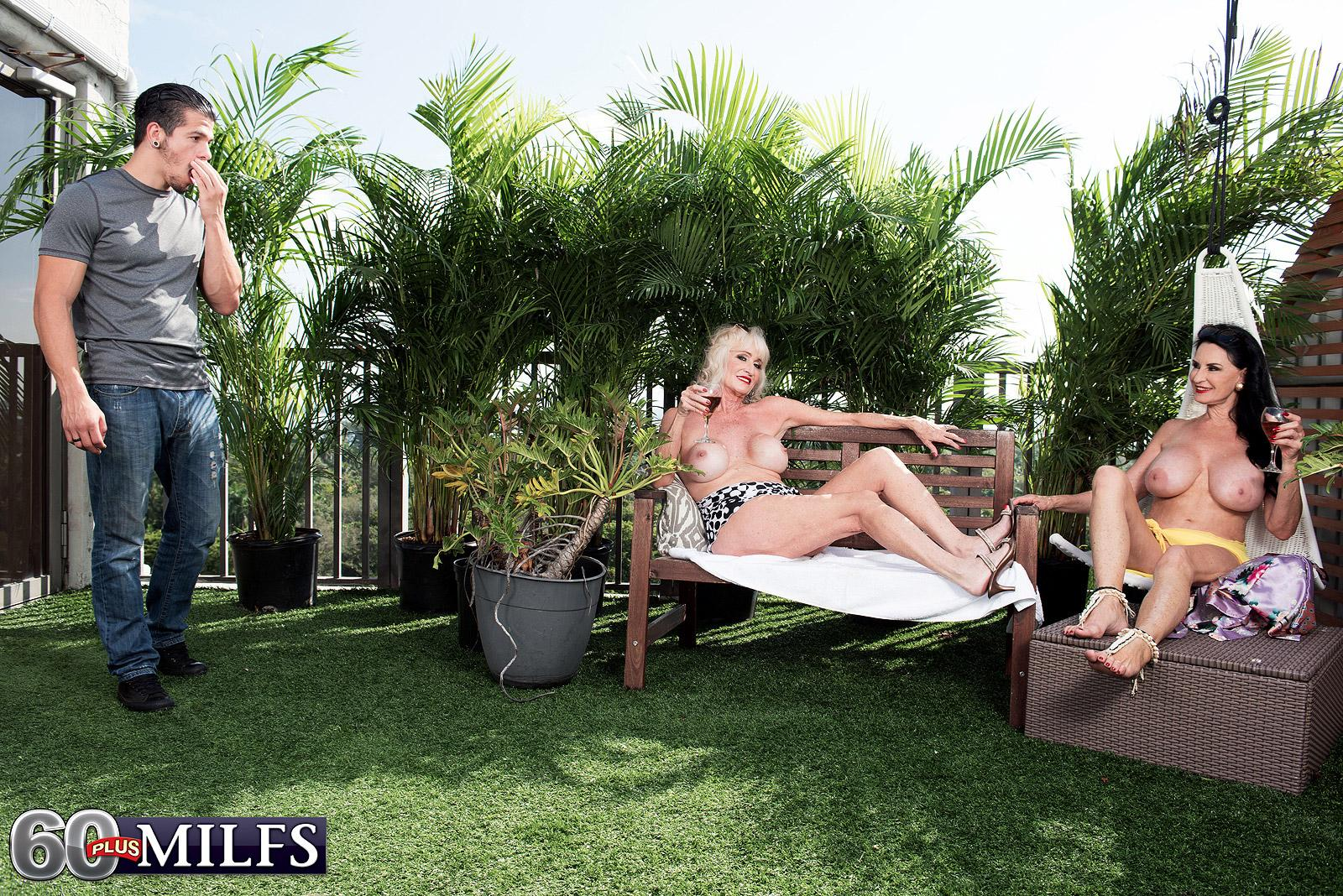 Mature gal Rita Daniels and her mistress tempt and suck off a younger stud