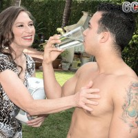 Horny 60 plus MILF Mona seduces a Latino boy while he does her yard work