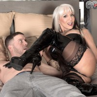 Monster-sized boobed 60 plus MILF Sally D'Angelo wanks a wood in latex boots and black corset