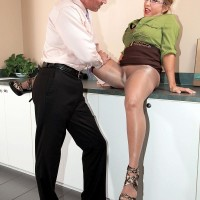 Nylons adorned mature work environment worker Luna Azul unsheathing massive juggs before giving BLOWJOB